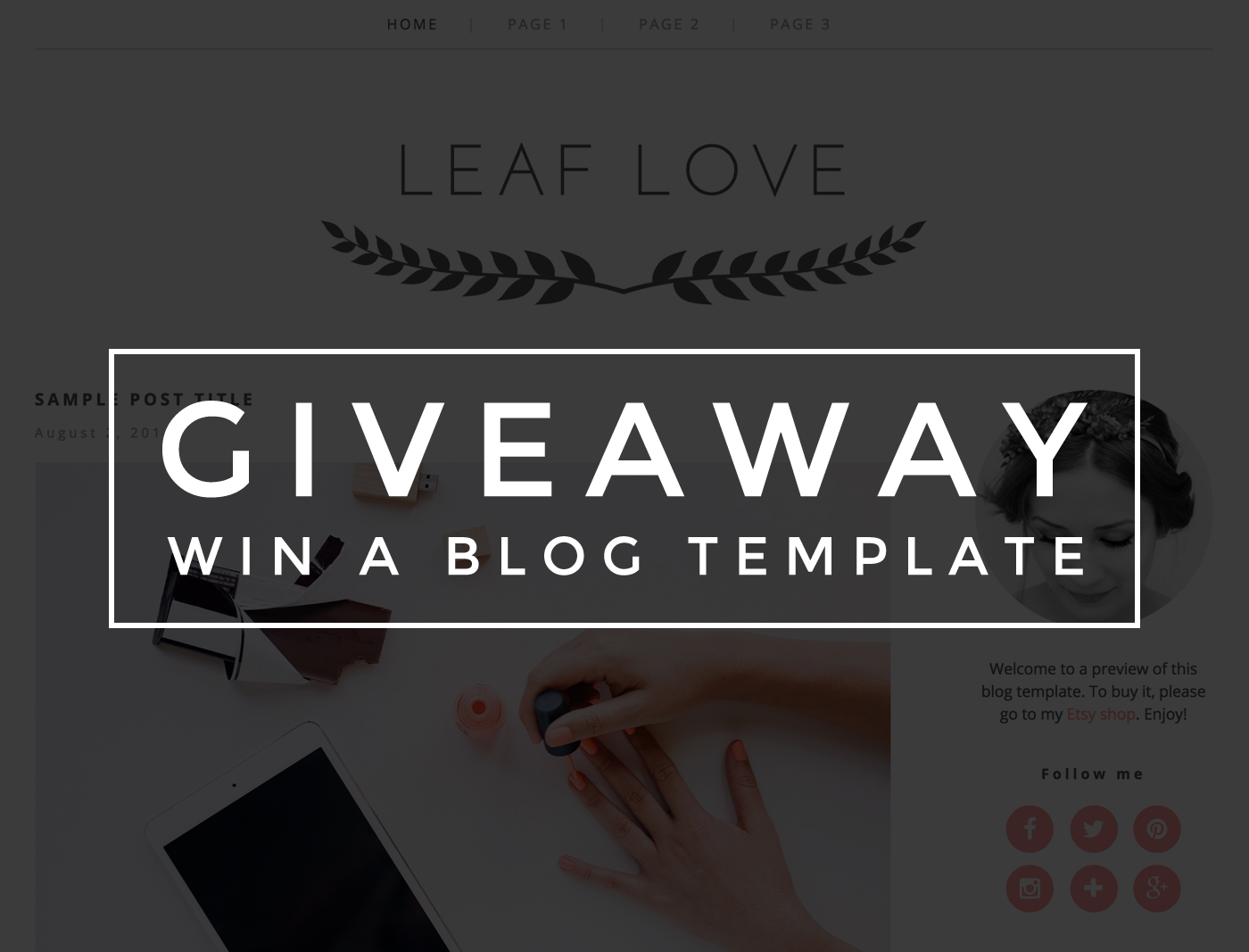 Giveaway - win a blog template